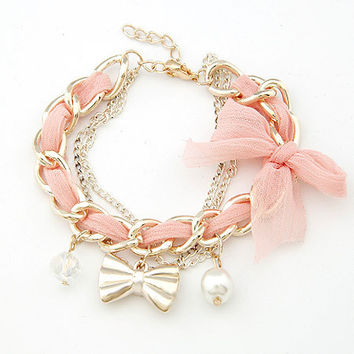 Pearl And Bow Trendy Bracelets For Women