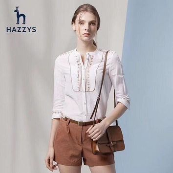 HAZZYS Women Fashion Button Shirt Top Tee