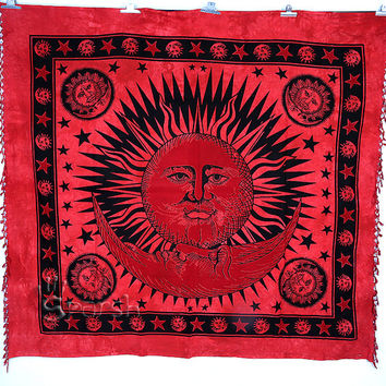 Sun Tapestry, Sun Moon Hippie Wall Hanging, Indian Bedspread Throw Hippie Cotton Coverlet, Bohemian Boho Sun Blanket, Queen Ethnic Decor Art