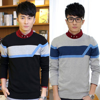 Color Block Ribbed Trim Knit Sweater