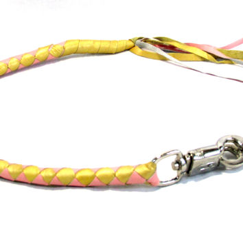 Motorcycle Get Back Whip Pink and Gold with Hook to the Belt Loop and Lever PGW959