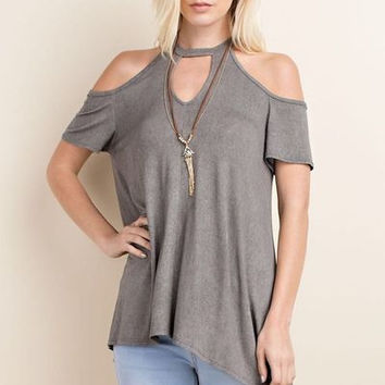 Pigment Dyed cold shoulder top w keyhole U neckline
