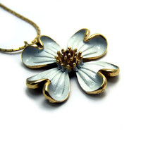 Vintage White Flower Necklace Enamel Long Gold Chain