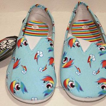 Licensed cool NEW MY LITTLE PONY RAINBOW DASH CUTIE CANVAS SLIP ON SHOES SLIPPERS LADIES LARGE