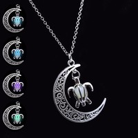 Silver Plated Chain Moon Turtle Necklaces & Pendants Glowing in Dark