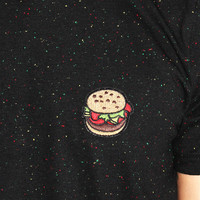 Hamburger Patch Speckle Tee- Black