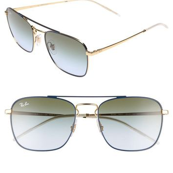 NWT Unisex Ray Ban Sunglasses Brow Bar Square Navigator 55MN Blue/Gold RB358855
