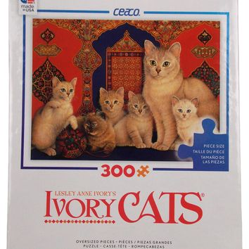 Ceaco Ivory Cats Jigsaw Puzzle Kittens 300 Pieces 24x18 Made USA Lesley Anne