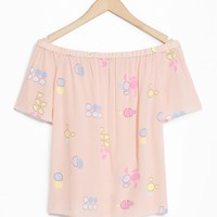 & Other Stories | Flowy Off-Shoulder Top | Pastel Paradise Print