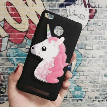 Unicorn Glitter Liquid Case for Xiaomi Redmi 3X / 3S / 3 Pro Prime Cover Dynamic Cute Cartoon OWL Dreamcatcher Soft TPU Phone