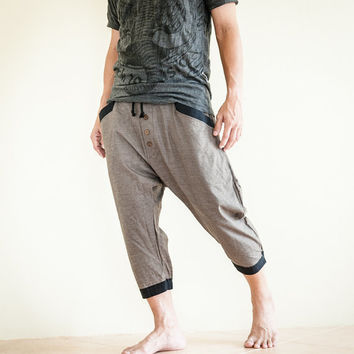 Casual 4/5 Length Cargo Unisex Capri Drop Crotch Pants with Elastic Waist (Granite Brown)