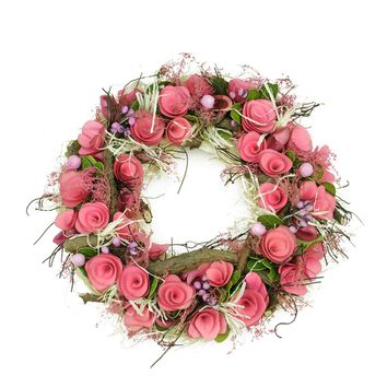 """12.5"""" Pink Flowers and Berries  Green Leaves and Twig Artificial Spring Floral Wreath"""