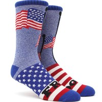 """New"" Socks Freedom Flags Crew Socks - Mens Socks - Red/White/Blue - One"