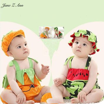 Jane Z Ann Halloween Baby Romper Pumpkin persimmon watermelon Cute Baby Costume Sleeveless Boy Girl Jumpsuit Baby Clothes