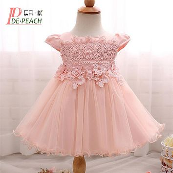 New Flowers Pearls Baby Girls Party Dress Toddler Girl Birthday Dress Kids Princess Wedding tutu Dress Baby Christening Clothing