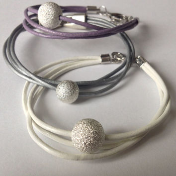 Triple Strand Leather Bracelet with Silver Bead