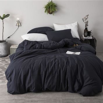 Luxury 100% Cotton Black white Luxury Bedding set  4/6pcs Simple style Bed set King Queen Size Duvet cover Bedsheet set