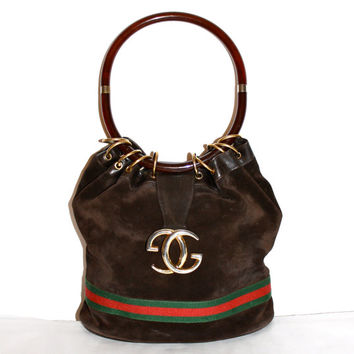 Vintage GUCCI Hobo Brown Suede Leather Web Stripe Medallion Tortoise Handle Tote -AUTHENTIC-