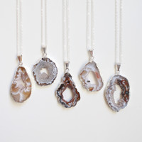 Silver Geode Slice Stone Necklace