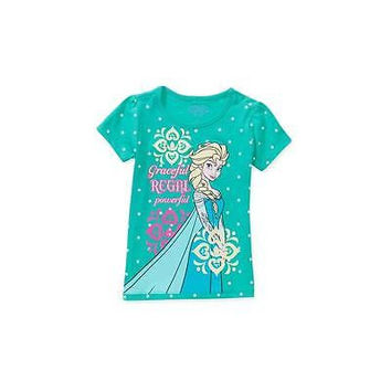 Frozen Elsa Graceful Baby Toddler Girl Graphic Tee Shirt, Turquoise, 5T Disney