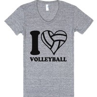 I Love Volleyball (Athletic) (Junior)-Female Athletic Grey T-Shirt
