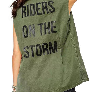 Vintage Vest With Riders On The Storm Print Back In Olive Green