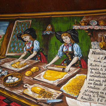 Vintage Cloth Panel Women Baking French Recipe Wall Hanging Bakery Kitchen Decor