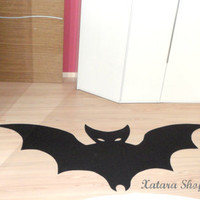 Bat rug. Halloween rug. Custom rug silhouette with bat shape.