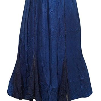 Womens Skirt Gypsy Boho Navy Blue Embroidered Long Skirts S/M