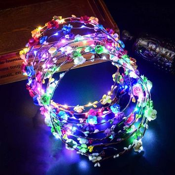 Christmas Party Glowing Wreath Halloween Crown Flower Headband Women Girls LED Light Up Hair Wreath Hairband Garlands