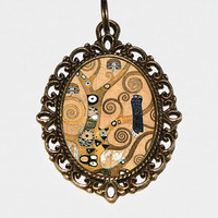 Gustav Klimt, Tree Of Life Necklace, Art Nouveau, Fine Art Jewelry, Oval Pendant