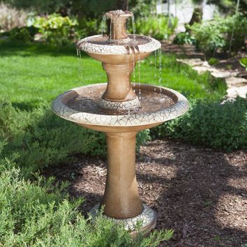 Traditional Style 2-Tier Outdoor Fiberglass Water Fountain