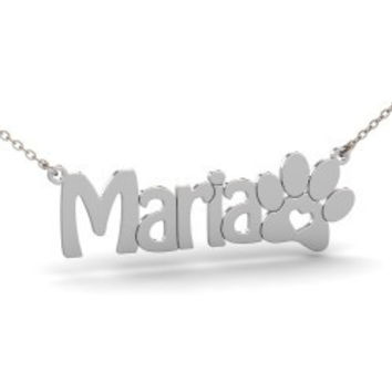 Sterling Silver Cat Paw Name Necklace