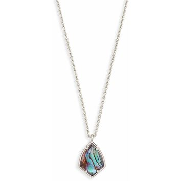 Kendra Scott: Cory Silver Pendant Necklace In Abalone Shell