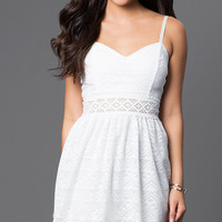 Short Summer White Lace Party Dress