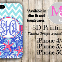 Monogram iPhone Case Personalized Phone Case Lilly Pulitzer Inspired Monogrammed iPhone Case, Iphone 4S Iphone 4, iPhone 5S, iPhone 5C #2294