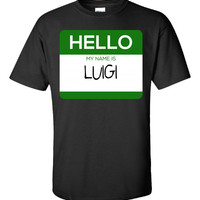 Hello My Name Is LUIGI v1-Unisex Tshirt