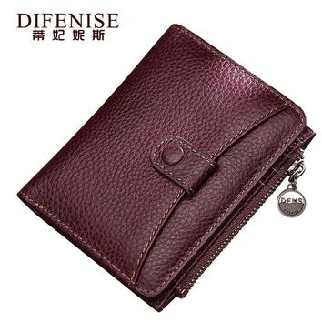 Difenise Fashion Women's Real Genuine Leather Wallets Vintage Zipper and Hasp Organizer Wallets 2018 new Style Purses 8003