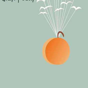 Flight of the Peach - James and the Giant Peach Inspired - Movie Art Poster