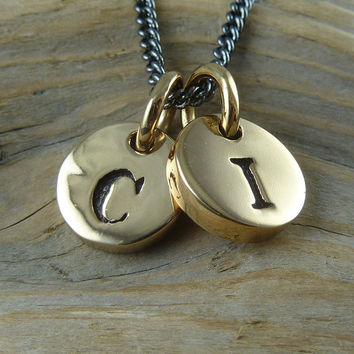 "Initial Necklace - Two Bronze Letter Charms on 18"" Gunmetal Chain"