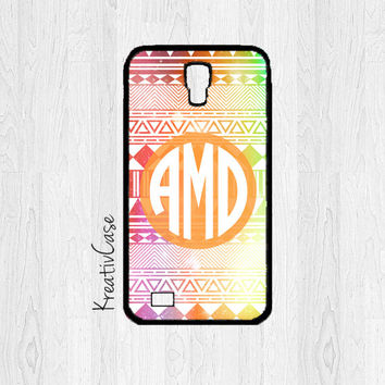 Monogrammed Galaxy S4 Case, Samsung S4 Case, AZTEC multi-colored Orange Yellow Phone Case, Personalized Phone Cover - K123