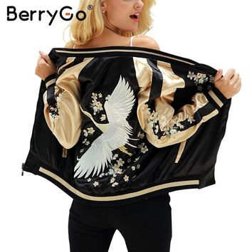 BerryGo Floral embroidery satin jacket