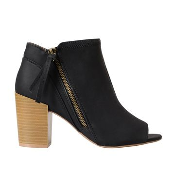 Black Vegan Leather Peep Toe Booties