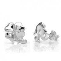 925 Sterling Silver Irish Four (4) Leaf Clover 11 mm Post Stud Earrings