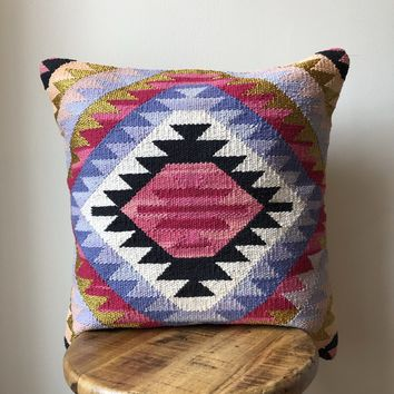 20 x 20 Black, Pink & Gold Southwestern Pillow