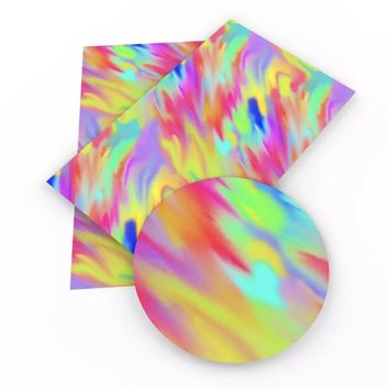 Tie dye abstract faux leather vinyl fabric sheet