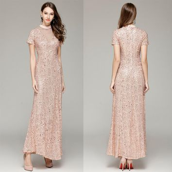 B0080 New High Neck Sequin Short sleeves Maxi Women Prom Ball Formal Gown Long Tulle A-Line Dresses peach&Pink
