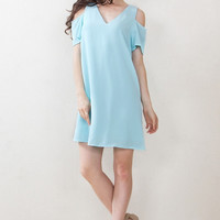 Sugarlips Airy Skies Light Blue Shoulder Cutouts Shift Dress