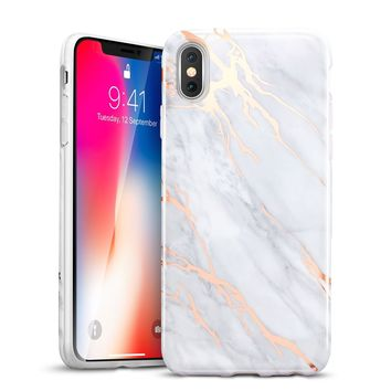iPhone X Case, iPhone X Marble Case, ESR Slim Soft Flexible TPU Marble Pattern Cover [Support Wireless Charging] for Apple iPhone X (2017 Release)(Grey Gold Sierra)