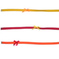 Set of Three Red Yellow Orange Bow Womens Headband Hair Accessory